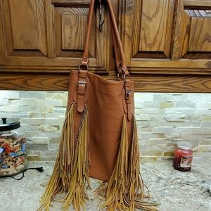 Made in Auatralia. Large arty brown leather bag